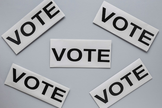 Top view of elections vote concept