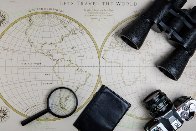 Top view electronic devices and map