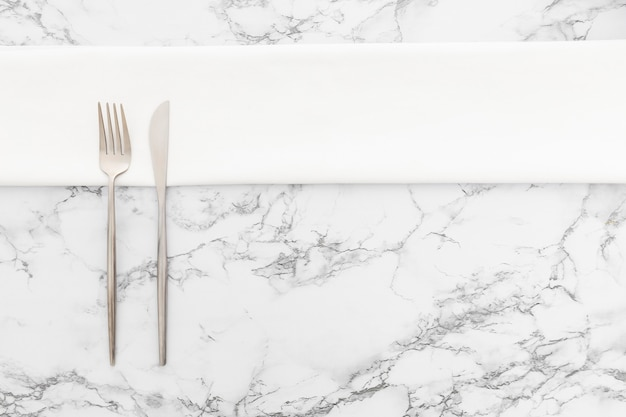 Top view elegant cutlery on the table