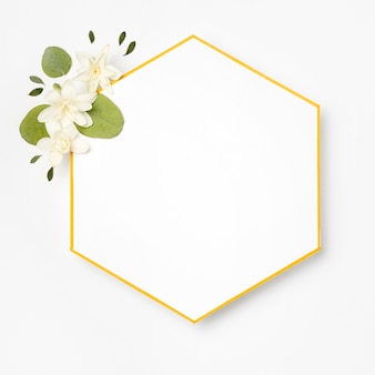 Top view elegant golden frame with leaves