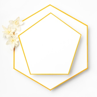 Top view elegant golden frames with flowers
