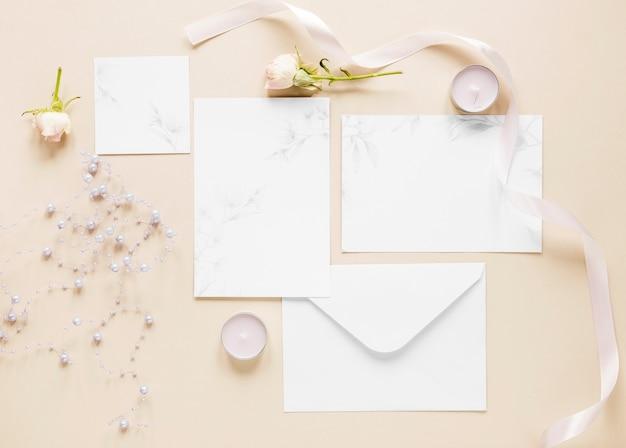 Top view elegant wedding invitations