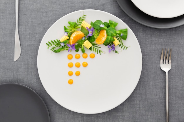 Top view elegantly arranged plate
