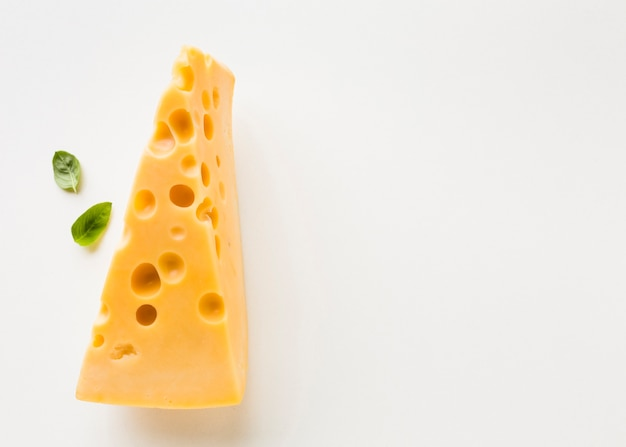 Top view emmental cheese with copy space