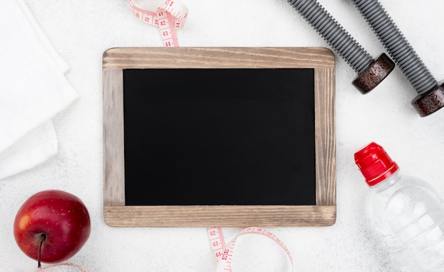 Top view empty blackboard