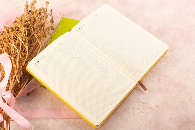 A top view empty copybook with peganum harmala plant on the pink table study learning pen plant