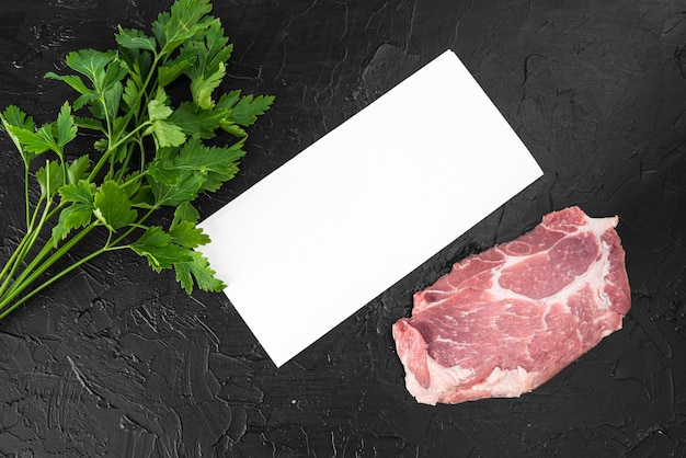 Top view of empty menu paper with meat
