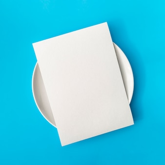 Top view of empty paper on plate