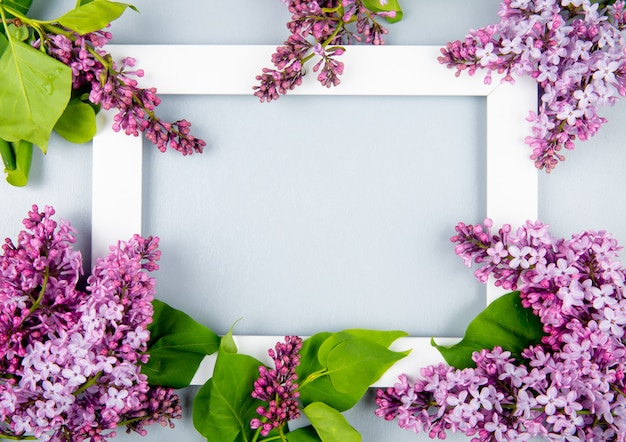 Top view of an empty picture frame with lilac flowers on white background with copy space