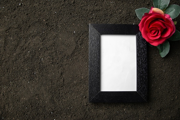 Top view of empty picture frame with red flower on dark soil