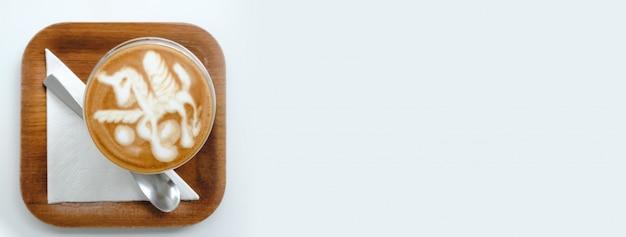 トップビュー空の白いコーヒーカップ(ラテコーヒー)