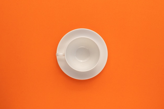 Top view of empty white cup