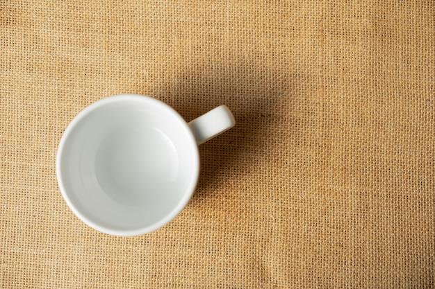 Top view empty white mug