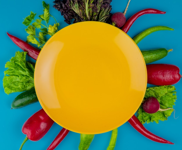 Top view of an empty yellow plate on fresh vegetables cucumbers radish red and green chili peppers and lettuce on blue background