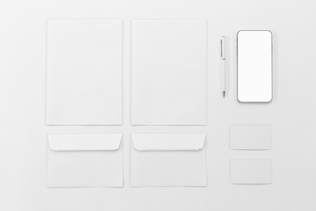 Top view envelope and phone arrangement