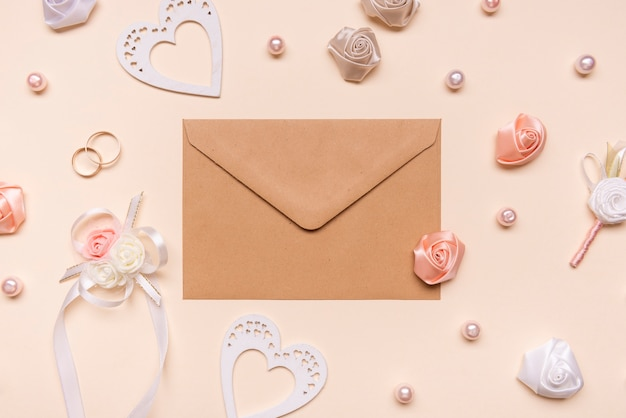 Top view envelope surrounded by flowers