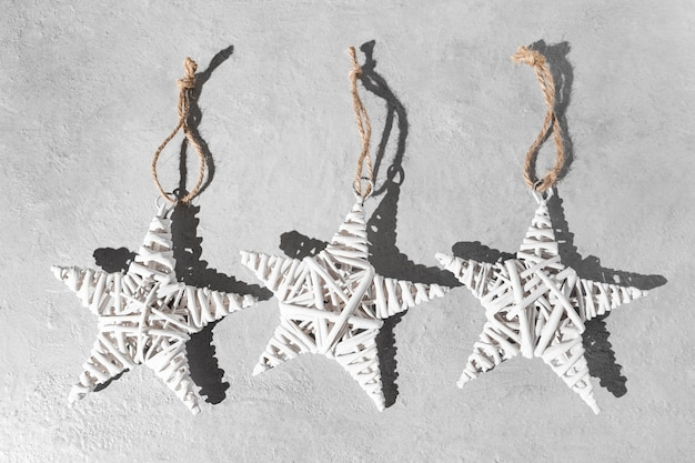 Top view of epiphany day stars with string