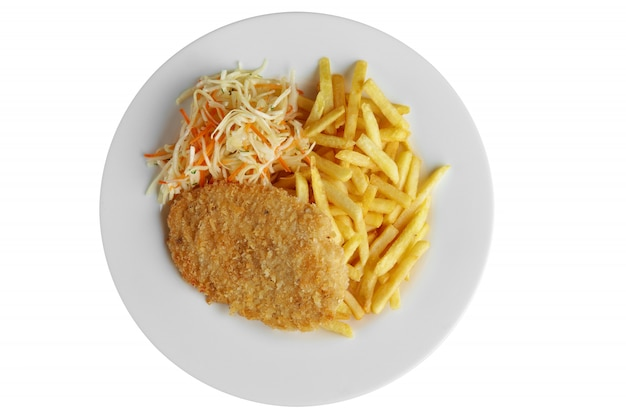 Top view of escalope with french fries and cabbage isolated on white