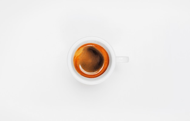 Top view of espresso coffee cup