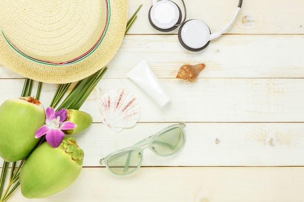 Top view essential travel summer items.