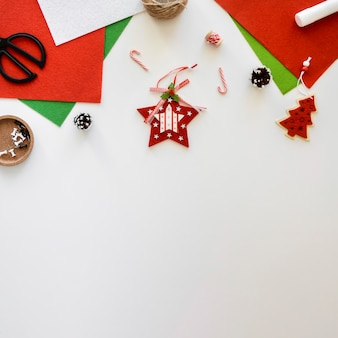 Top view of essentials for decorating christmas giftf
