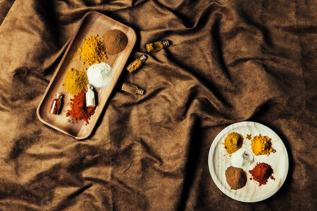 Top view of exotic indian spices