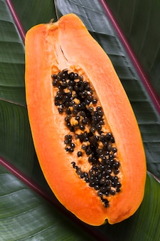 Top view exotic papaya fruit ready to be served