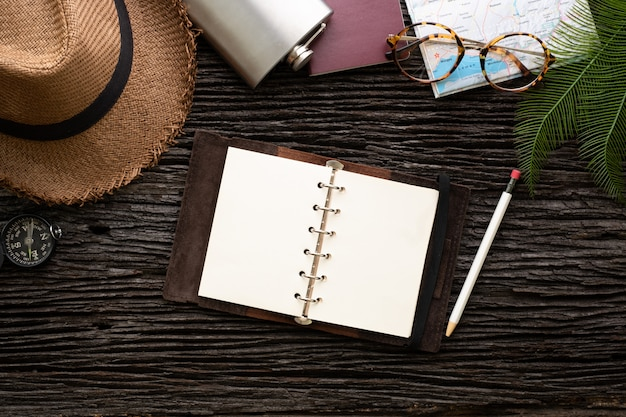 Top view explorer open book plan travel with accessory item