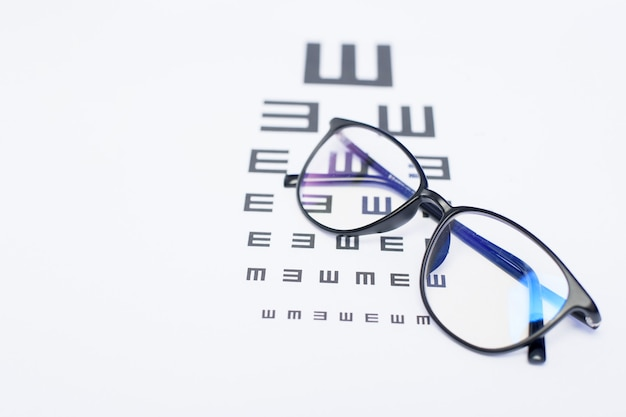 A top view of eye chart with glasses, ophthalmologist concept