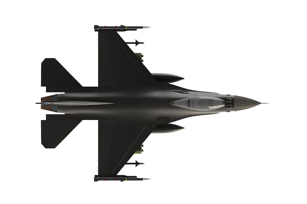 Top view of f16, american military fighter plane on white background, 3d rendering