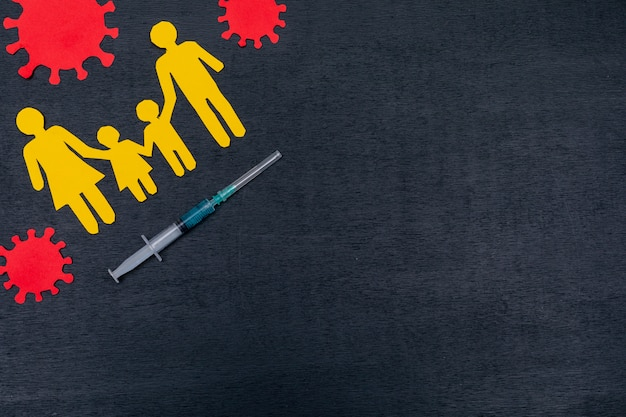Top view of family with syringe and virus
