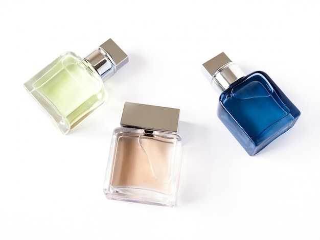 Top view fashion aromatic of perfume in glass bottle scented cosmetics with modern shape