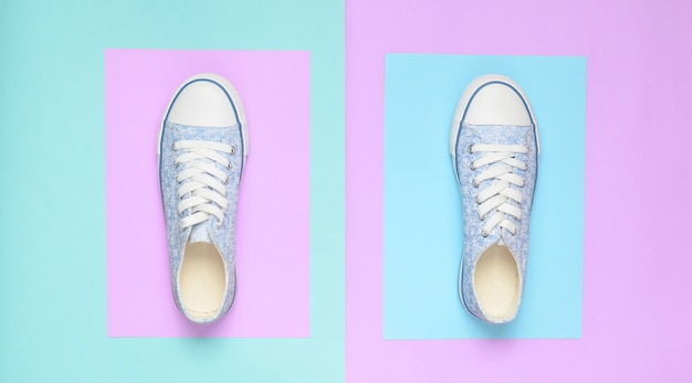 Top view of fashionable female sneakers