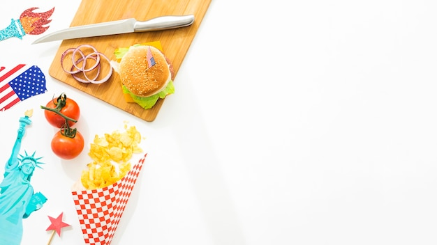 Top view fast food concept with copyspace