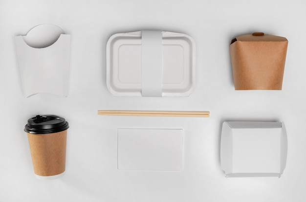 Top view fast food packaging with coffee cup