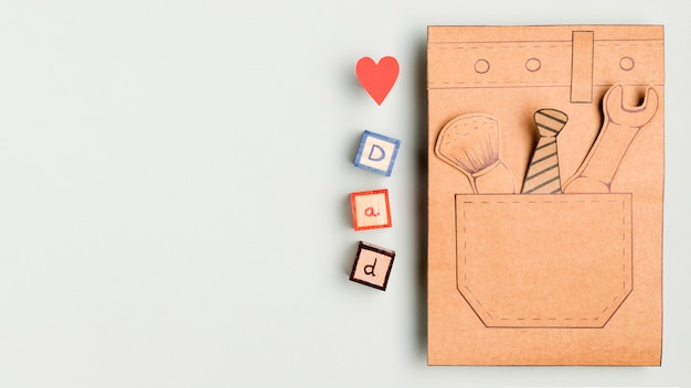 Top view father's day concept with copy space