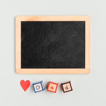 Top view father's day concept with frame
