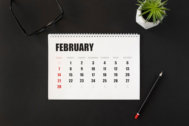 Top view february month planner calendar