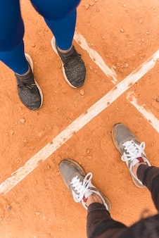 Top view of feet of runner woman