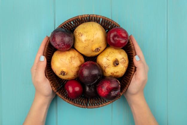 Vista dall'alto delle mani femminili che tengono un secchio di frutta fresca come i melograni pluots su una superficie blu