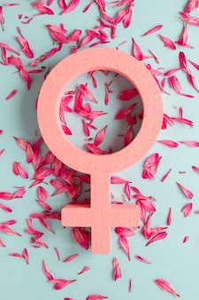 Vista dall'alto del simbolo femminile con petali per la festa della donna