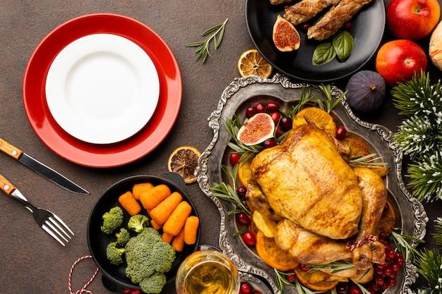 Вид сверху праздничная рождественская еда