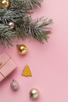 Top view festive christmas ornaments arrangement with copy space