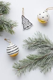 Top view festive christmas ornaments arrangement