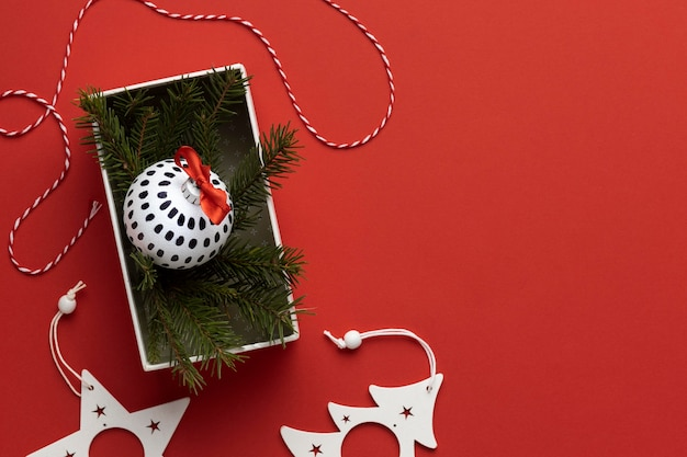 Top view festive christmas ornaments with copy space