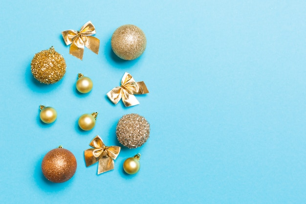 Top view of festive winter composition with empty space for your design
