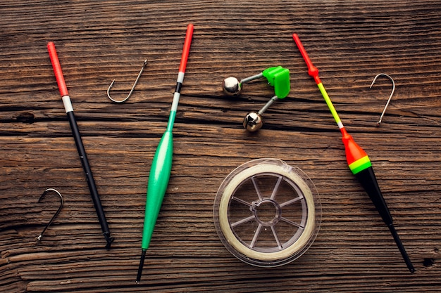 Top view of fishing equipment with hooks