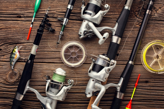 Top view of fishing essentials and bait