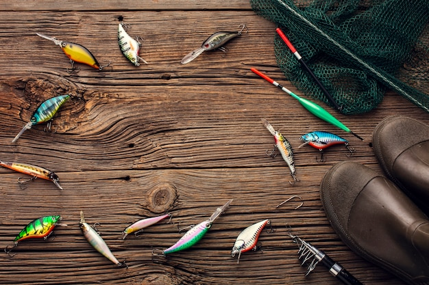 Top view of fishing essentials