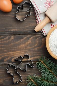Рождественские выпечки ингредиенты top view flat lay copy space